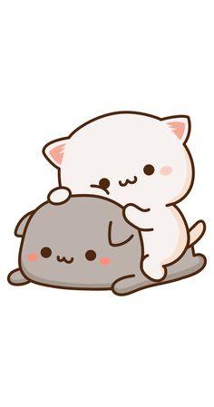 Cute Anime Cat, Cute Bunny Cartoon, Cute Kawaii Animals, Cute Cartoon Pictures, Cute Love Cartoons, Cute Images, Cute Cat Wallpaper, Bear Wallpaper, Kawaii Wallpaper