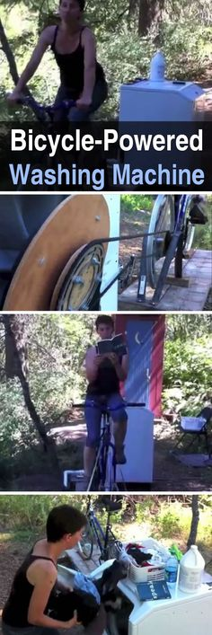 Bicycle-Powered Washing Machine. This is a brilliant solution, watch the video here.