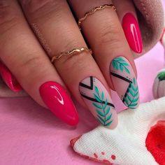Cute Gel Nails, Love Nails, Pretty Nails, Acrylic Nails Almond Shape, Line Nail Designs, Deer Nails, Matte Nail Colors, Lines On Nails, Almond Nails Designs