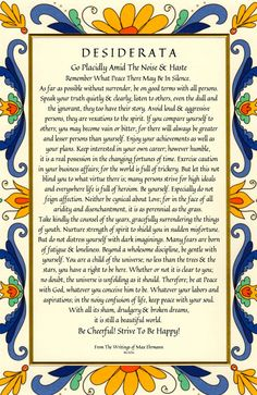 Desiderata Poem 11 X 17 Art Card Country Cottage Design - Modern Best Friend Poems, Great Quotes, Me Quotes, Truth Quotes, People Quotes, Desiderata Poem, Note To Self, Love Words, Frases