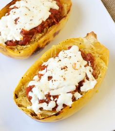 twice baked spaghetti squash boats and other recipes http://americanheritagecooking.com/