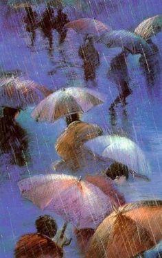 Blue Umbrellas by Carol Jessen