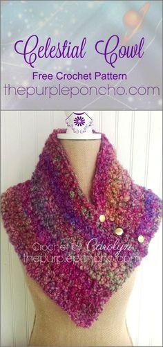 Celestial Cowl – Free Crochet Pattern on The Purple Poncho #crochet #freepattern