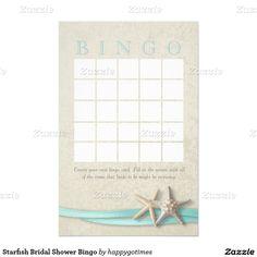 Starfish Bridal Shower Bingo Stationery