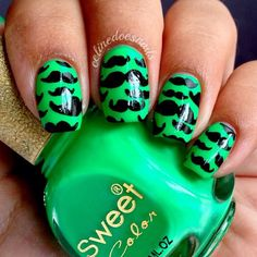 Mustache nails really cute Beautiful Nail Designs, Cute Nail Designs, Mustache Nails, Birthday Nail Art, Aztec Nails, Sassy Nails, Cute Nail Art, Hot Nails, Fabulous Nails