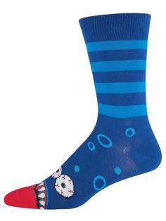 The Joy of Socks - Blue Striped Monster Mouth Socks (Men's), $10.00 (http://www.joyofsocks.com/blue-striped-monster-mouth-socks-mens/)