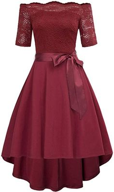 66dcfd645b75 Off Shoulder Swing Party Dress Picnic Dress Size S Wine CL686-2 at Amazon  Women's