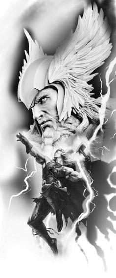Thor tattoo art by Faisal Al-lami Joshua Hansen.sal inked magazine Thor Tattoo-Kunst von Faisal Al-lami Joshua Hansen. Norse Mythology Tattoo, Norse Tattoo, Tattoo Thor, Tattoo Studio, Thor Drawing, Dessin Game Of Thrones, Viking Warrior Tattoos, Greek God Tattoo, Tattoo Drawings