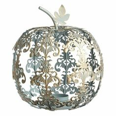 Scroll Pumpkin Tealight Holder - Blue