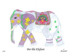 Der lila Elefant / The purple elephant CHF 80,00 28 x 35 cm (18 x 24 cm without passepartout)  www.alexadenauer.com