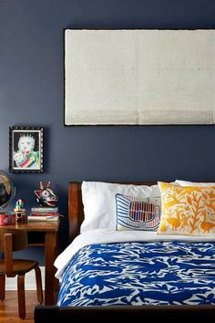otomi print navy bedroom with otomi bedding and desk