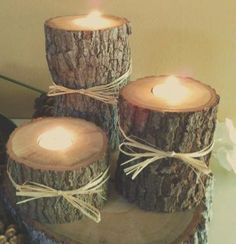"""Set of 12 -  (3"""", 5"""", 7"""")  -  Oak  Tree Trunk Candleholders- Rustic Wedding -  Home Decor- Cabin decor by JTLCREATIONS for $72.00"""