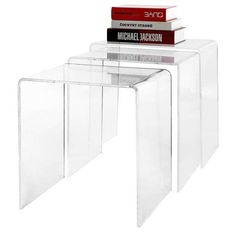 SEE ALL   |   31 OF 36    Modern Designer 3-Piece Nesting Table Set $129.99  These acrylic nesting tables practically disappear into the room, and provide as little or as much tabletop space as you need.    Clear Nesting Table in Black  $140.99   Previous  PHOTOGRAPHY BY AMAZON  Next