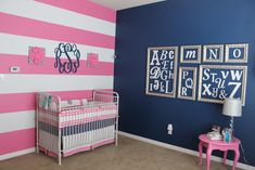 Pink, Grey and Navy Nursery - love the framed alphabet wall!