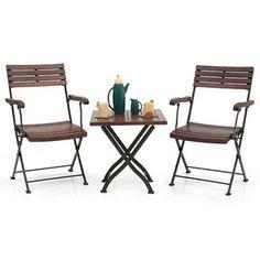 Masai Arm Chair Table Set (Teak Finish)