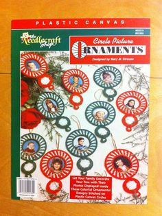 """Circle Picture Ornaments. Holiday Photo Christmas tree ornament pattern to be stitched on 3"""" plastic canvas circle pattern. $1.50"""