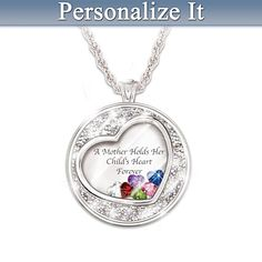 Personalized Heart Pendant Sterling Birthstones