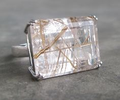 Gold Rutilated Quartz Rutile Quartz Chunky Ring Chunky by Belesas, $229.00