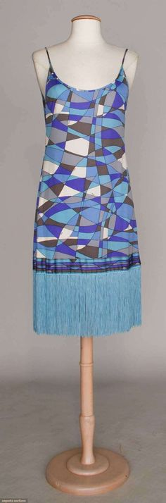 """PUCCI FRINGED MINI DRESS, 1960s Silk jersey, purple, blue & white abstract print, long turquoise hem fringe, B 34"""", H 36"""", L 39"""", excellent."""