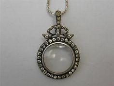 FINEST Antique SILVER Paste FRENCH Locket Bow PENDANT Double OPEN Glazed LOCKET