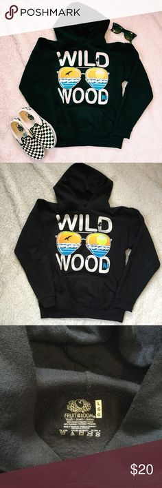 Wildwood Jersey Shore Sweatshirt Black Wildwood Jersey Shore hoodie. Child's size large is comparable to a women's XS-S. This was my hoodie, never worn by a child.   Condition: Gently worn.   ◆If you'd like more pics or have questions, ask! 🚫NO TRADES🚫 Fruit of the Loom Shirts & Tops Sweatshirts & Hoodies