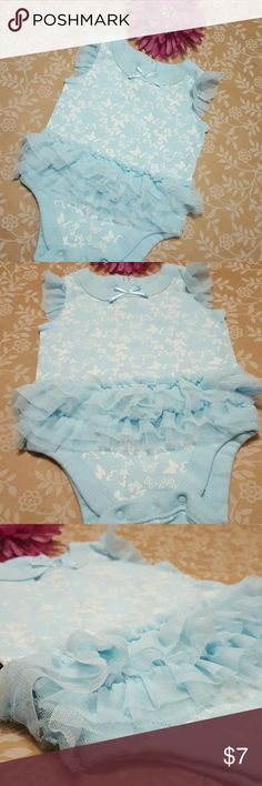 OLD NAVY Butterfly Tutu Onesie 0-3M Adorable Onesie with tulle Tutu and tulle cap sleeves. Light Blue with white butterflies. There is some slight discoloration around neckline from storage that I've done my best to detail in pics. It's only in certain light that you can really appreciate it...but in full disclosure, it is there. Adorable regardless! I'll take more pics if you prefer! Old Navy One Pieces Bodysuits