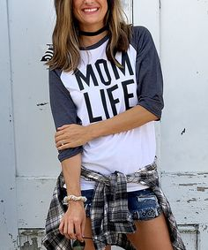 Another great find on #zulily! Nellie Mae Black & White 'Mom Life' Raglan Tee by Nellie Mae #zulilyfinds