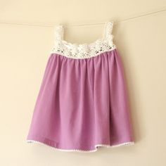 Summer dress- organic  cotton  fabric  with  crochet in orchid white