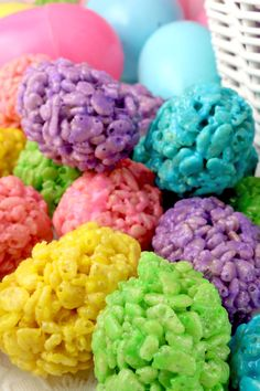 Mini Rice Krispie Easter Eggs - Yummy, colorful, bite-sized Easter Eggs made out of crunchy, marshmallow-y Rice Krispie Treats. This is a Easter dessert that is easy to make and even yummier to eat. These colorful and festive Easter Treats are sure to please your loved ones. Pin this fun Easter snack for later and follow us for more fun Easter Food Ideas. #EasterDesserts #EasterTreats #EasterEggs #EasterFood #RiceKrispieTreats