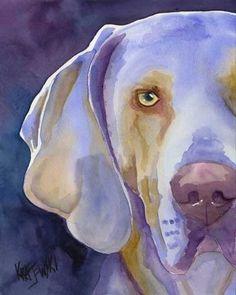 Weimarse staande hond Art Print van een originele door dogartstudio