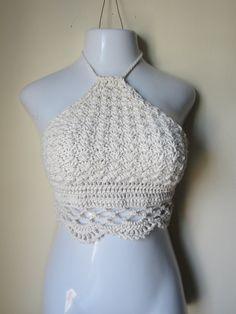 Crochet halter top halter top cropped top by Elegantcrochets, $48