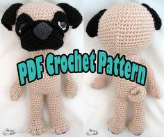 PDF Amigurumi / Crochet Pattern Sleepy Eye Dog PUG by ennadesign