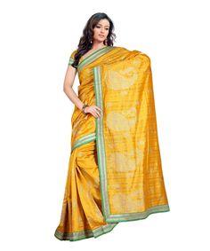 Mustard Bhagalpuri Saree With Blouse 60059