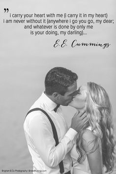Read this beautiful ceremony reading I Carry Your Heart With Me by E. Cummings, we think this would make the most lovely reading at your wedding. Wedding Kiss, Wedding Quotes, Wedding Blog, Wedding Ideas, Wedding Inspiration, Fantasy Wedding, Wedding Shoot, Wedding Pictures, Wedding Stuff