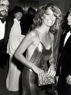 "studio 54 outfits - Google Search, Gold dress, very much in style today. Looking stunning, Farrah, ruled the 70""s"