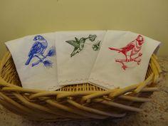 Embroidered Dish Towels, Bird Design Dish Towels, Set of Dish Towels,Cardinal,Bluebird,Hummingbird by RedbirdOriginals on Etsy