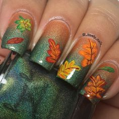 "Beautiful autumn gradient featuring Lacquer Lust """"Topaz"" & ""Emerald"", and, of course, autumn leaves!!!"