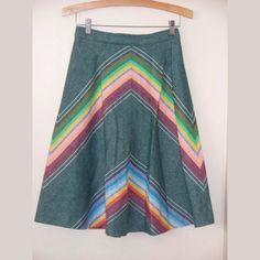 Vintage 70's Chevron A Line Skirt Medium by GoodNPlentyVinty, $25.00