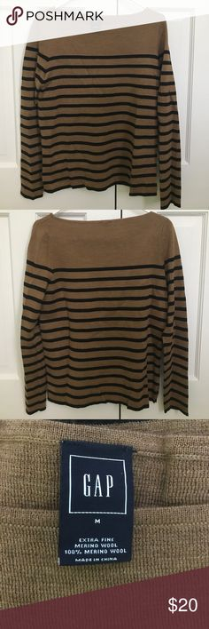 Gap brown and black striped wool sweater, size M Brown and black striped wool sweater, size M GAP Sweaters Crew & Scoop Necks