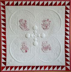'Red and White Snowmen' by Kim Brunner / Kimmyquilt.com Made as a sample for a trapunto class for the 2014 show season. Embroidered snowmen motifs using Isacord thread. Cutaway trapunto using Pellon Wool batting and Pellon Legacy batting. Quilted with Glide thread, using 'Carol's Multipurpose Ruler' and 'Nested Circles' acrylic templates.