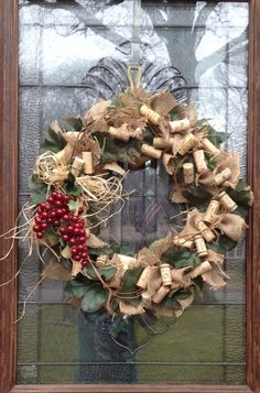 Burlap wine cork wreath by BCCbyBecca on Etsy