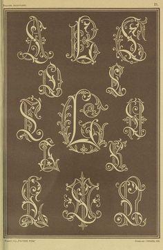 1875г Alphabet Art, Monogram Alphabet, Calligraphy Alphabet, Calligraphy Fonts, Letter Art, Art Deco Monogram, Vintage Monogram, Monogram Design, Monogram Styles