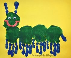 Can you imagine my smile when I saw this way too cute for words Handprint Caterpillar my preschooler made in class that day?! I absolutely love it!