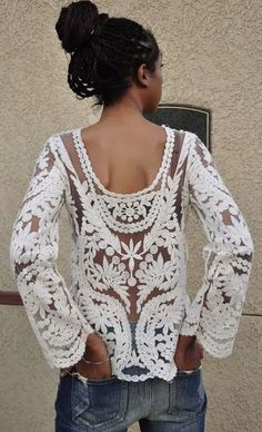 STYLIGHT: Love It!  Belgium lace is magnificent.  I love it when an item shows it's personality in the back as well as the front.  The work on this tunic is true art!