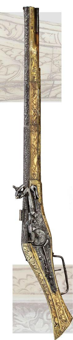 Rare magnificent equestrian-wheel lock pistol Brunswick or Munich, ca . 1550