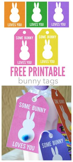 Free printable bunny tags for your Easter gifts. Easter Projects, Easter Crafts, Easter Ideas, Bunny Crafts, Easter Party, Easter Gift, Easter Décor, Easter 2018, Easter Stuff
