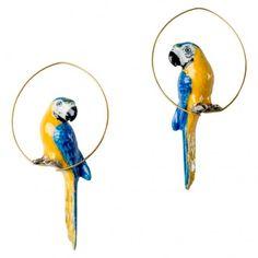 Blue Parrot Porcelain Creole Earrings