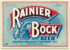 #TBT - old photos seattle beer | first Rainier Bock, Jan. 1934