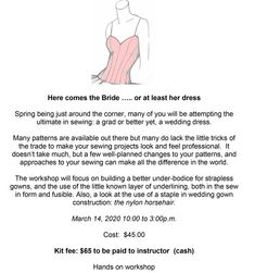 Our next workshop is Saturday, March from am to pm. Call us at 604 for more information. March 14th, Here Comes The Bride, Spring Dresses, Workshop, Sewing, Wedding Dresses, Future, Bride Dresses, Atelier