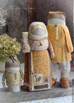 """Купить кукла-оберег Семья """"Вечная весна"""". - бежевый, карамель, розовый, оранжевый, народная кукла"""
